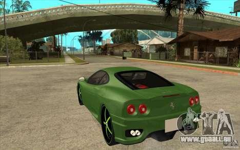 Ferrari 360 Modena pour GTA San Andreas sur la vue arrière gauche