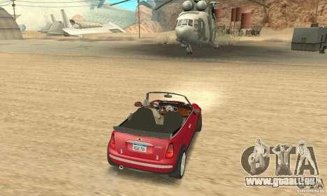Mini Cooper Convertible pour GTA San Andreas laissé vue