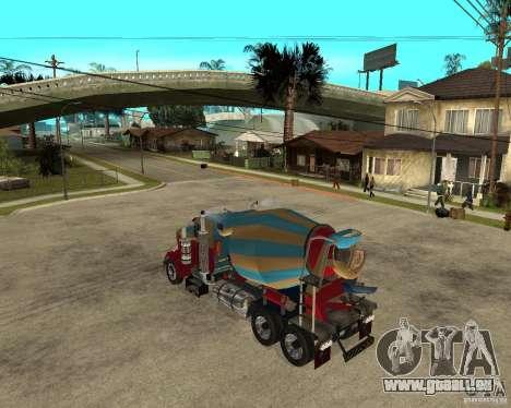 Kenworth W900 CEMENT TRUCK pour GTA San Andreas laissé vue