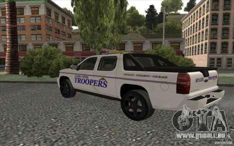 Chevrolet Avalanche Police pour GTA San Andreas sur la vue arrière gauche