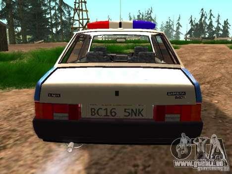 VAZ 2109 Police pour GTA San Andreas vue arrière