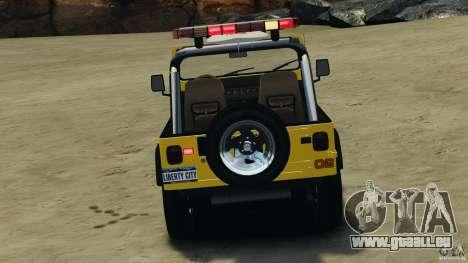 Jeep Wrangler 1988 Beach Patrol v1.1 [ELS] pour GTA 4 est une vue de dessous