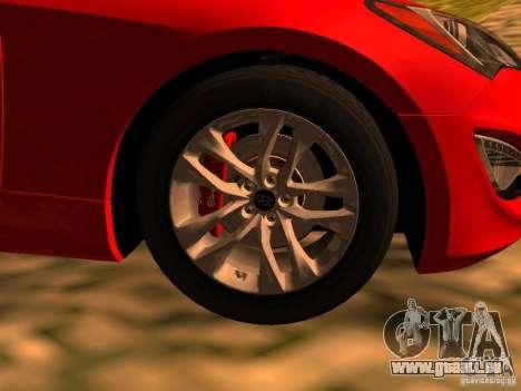 Hyundai Genesis Coupé 3.8 piste v1.0 pour GTA San Andreas sur la vue arrière gauche