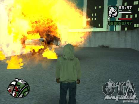 Fumée apparaissent sous les roues, comme dans NF pour GTA San Andreas cinquième écran