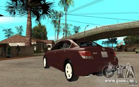 Honda Accord 2009 pour GTA San Andreas sur la vue arrière gauche