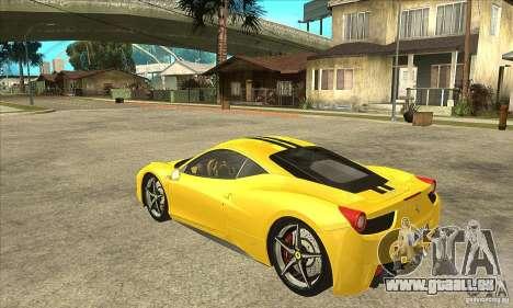 Ferrari 458 Italia 2010 v2.0 für GTA San Andreas zurück linke Ansicht
