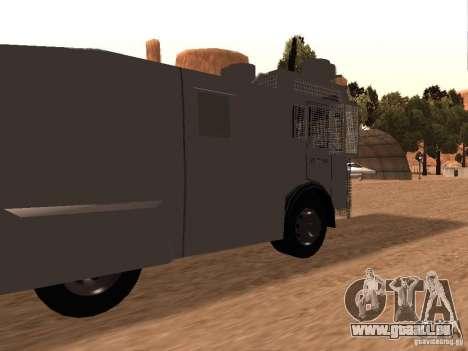 Eine Polizei-Wasserwerfer Rosenbauer v2 für GTA San Andreas zurück linke Ansicht