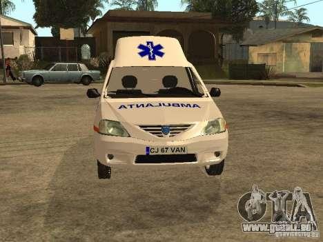 Dacia Logan Ambulanta pour GTA San Andreas vue intérieure