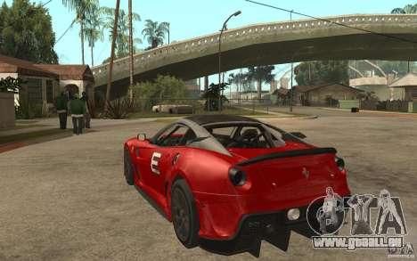 Ferrari 599xx 2010 für GTA San Andreas zurück linke Ansicht