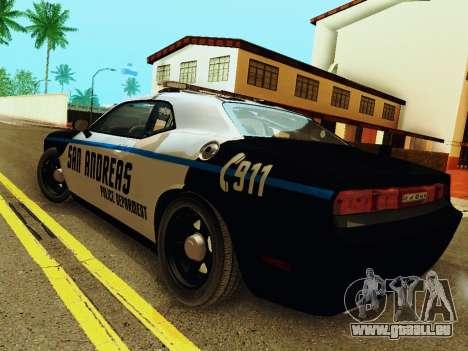 Dodge Challenger SRT8 2010 Police pour GTA San Andreas sur la vue arrière gauche
