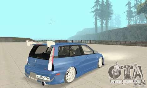 Mitsubishi Lancer Evolution IX Wagon MR Drift pour GTA San Andreas laissé vue