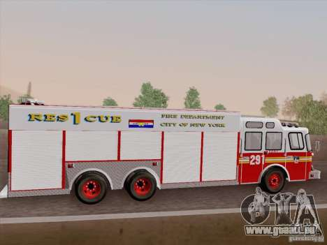 E-One F.D.N.Y Fire Rescue 1 für GTA San Andreas obere Ansicht