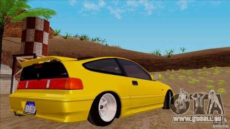 Honda CRX Hella Flush pour GTA San Andreas laissé vue