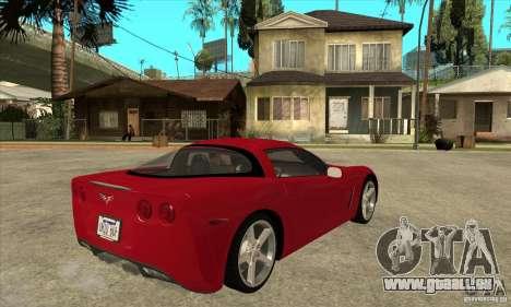 Chevrolet Corvette C6 Z51 - Stock pour GTA San Andreas vue de droite
