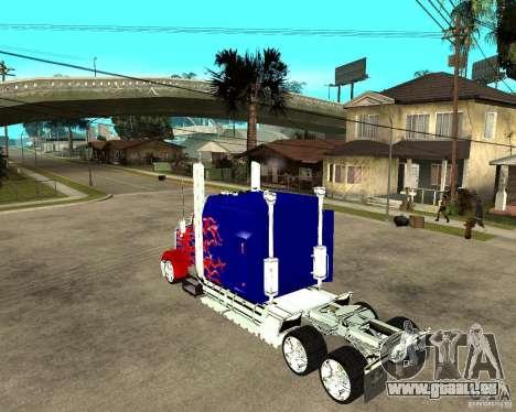 Truck Optimus Prime pour GTA San Andreas laissé vue