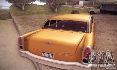 Cabbie HD pour GTA San Andreas sur la vue arrière gauche