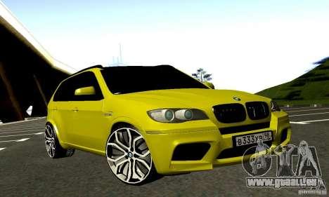 BMW X5M Gold für GTA San Andreas Rückansicht