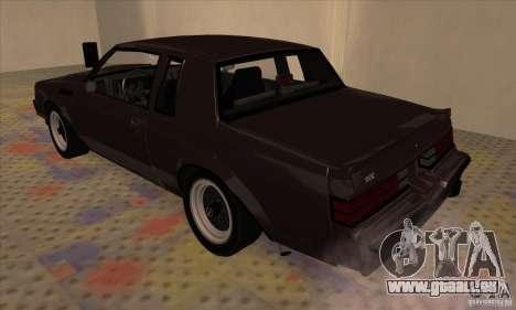 Buick Regal GNX 1987 pour GTA San Andreas vue de droite