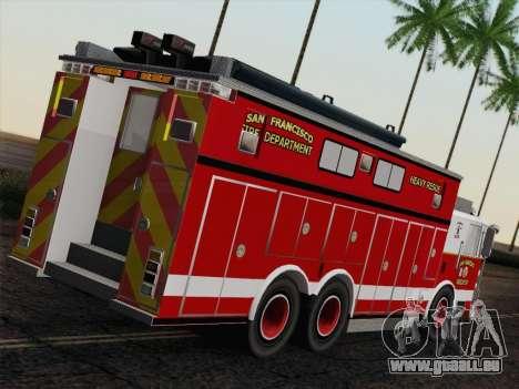 Pierce Walk-in SFFD Heavy Rescue für GTA San Andreas zurück linke Ansicht
