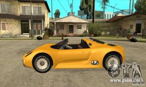 Porsche 918 Spyder pour GTA San Andreas laissé vue