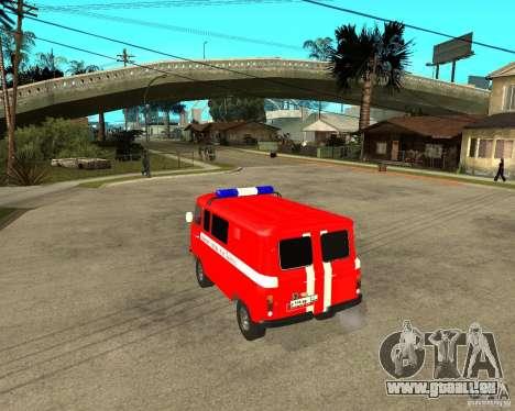 UAZ-pompiers pour GTA San Andreas sur la vue arrière gauche