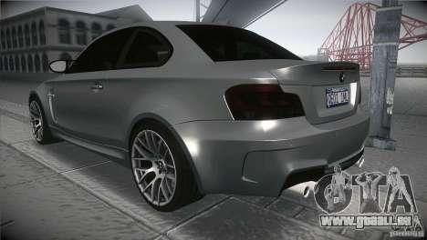BMW 1M E82 Coupe 2011 V1.0 pour GTA San Andreas sur la vue arrière gauche