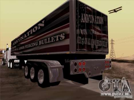 Remorque, Peterbilt 377 pour GTA San Andreas sur la vue arrière gauche