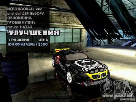 BMW Z4 Rally Cross pour GTA San Andreas vue de dessus
