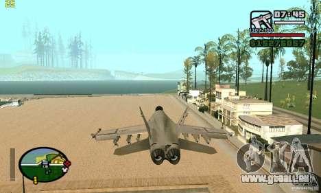 F-18 Super Hornet für GTA San Andreas zurück linke Ansicht