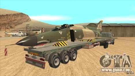 Flatbed trailer with dismantled F-4E Phantom pour GTA San Andreas vue de droite