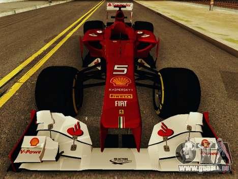 Ferrari F2012 pour GTA San Andreas vue intérieure