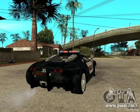 Bugatti Veyron Polizei San Fiero für GTA San Andreas zurück linke Ansicht