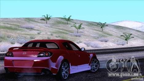 Mazda RX8 R3 2011 pour GTA San Andreas vue de dessus
