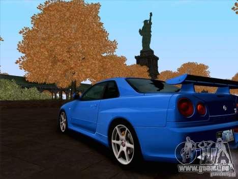 Nissan Skyline GTR R34 für GTA San Andreas zurück linke Ansicht