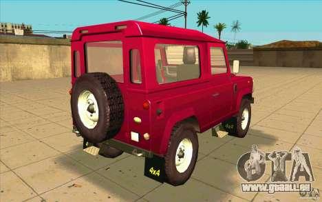 Land Rover Defender 90SW für GTA San Andreas zurück linke Ansicht