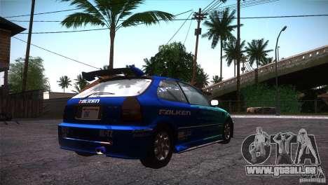 Honda Civic Tuneable für GTA San Andreas Innen