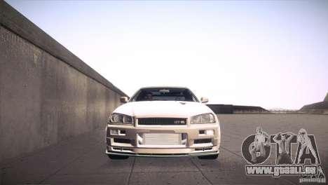 Nissan Skyline R34 pour GTA San Andreas vue de dessus