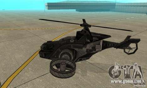 Ein Hubschrauber aus dem Spiel TimeShift Black für GTA San Andreas zurück linke Ansicht