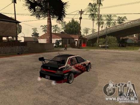 Mitsubishi Lancer Evolution 8 GReddy pour GTA San Andreas sur la vue arrière gauche