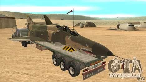 Flatbed trailer with dismantled F-4E Phantom pour GTA San Andreas sur la vue arrière gauche