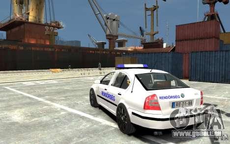 Skoda Octavia 2005 Hungarian Police pour GTA 4 Vue arrière de la gauche