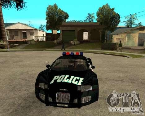 Bugatti Veyron Polizei San Fiero für GTA San Andreas Rückansicht