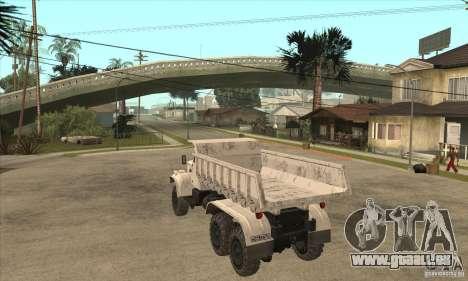Camion à benne basculante KRAZ 225 pour GTA San Andreas vue de droite
