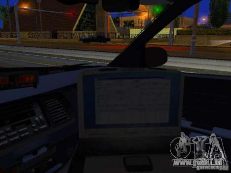 Ford Crown Victoria Erie County Sheriffs Office für GTA San Andreas Innenansicht