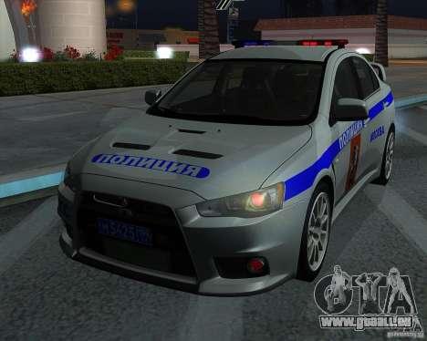 Mitsubishi Lancer Evolution X PPP Polizei für GTA San Andreas Innenansicht