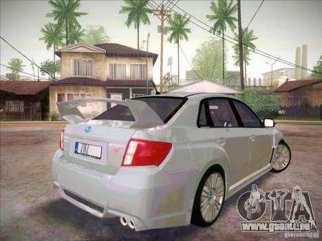 Subaru Impreza WRX STI 2011 Sedan pour GTA San Andreas sur la vue arrière gauche
