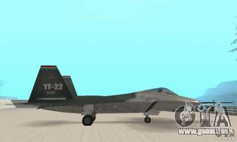 Y-f22 Lightning pour GTA San Andreas sur la vue arrière gauche