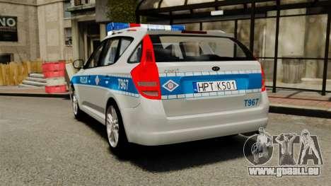 Kia Ceed 2011 SW Polish Police ELS pour GTA 4 Vue arrière de la gauche