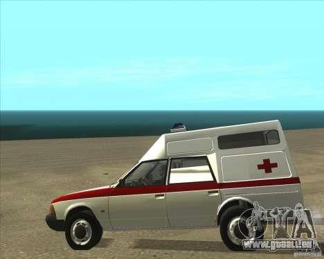 2901 AZLK ambulance pour GTA San Andreas sur la vue arrière gauche