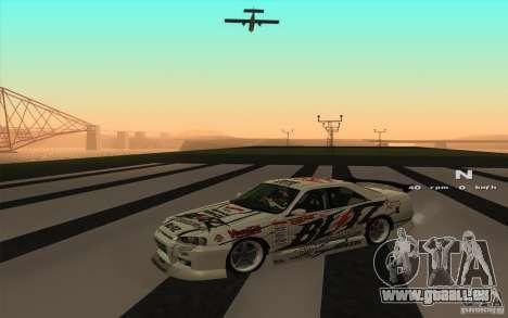 Nissan Skyline ER34 D1GP Blitz pour GTA San Andreas sur la vue arrière gauche